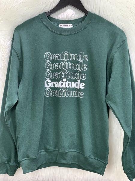 """""""Gratitude"""" Green Sweatshirt"""