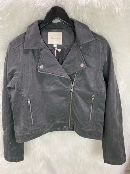 Gunmetal Faux Leather Jacket