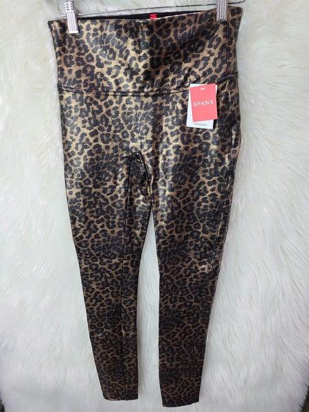 Faux Leather Leopard Leggings