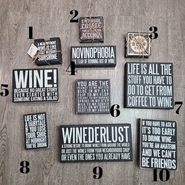 Wine and Coffee Gift Signs