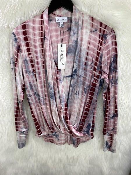 Veronica M Burgundy Bleach Tie Dye Crossover Top