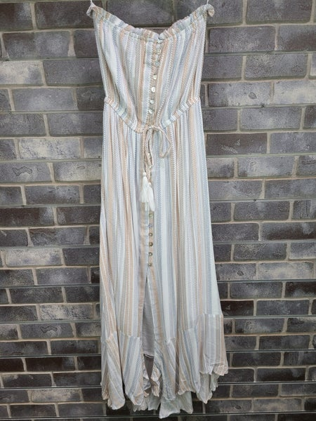 Elan Strapless Slit Front Maxi Dress