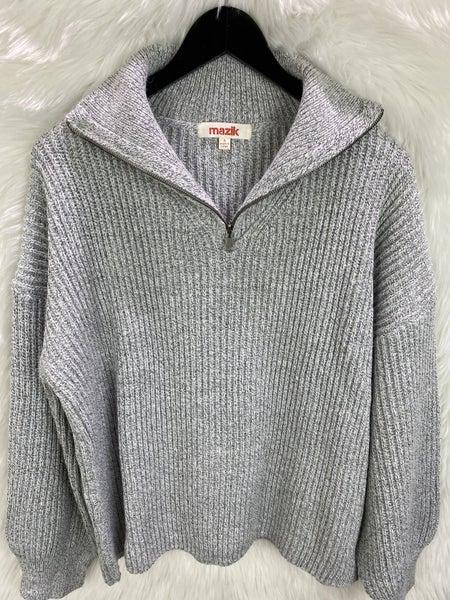 Front Zip Grey Sweater Top