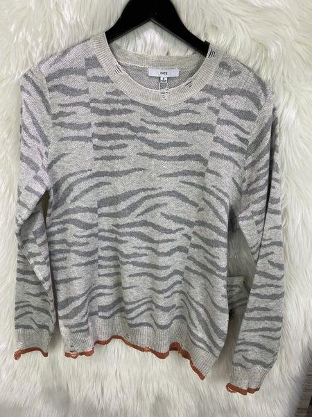 Grey Distressed Zebra Print Sweater