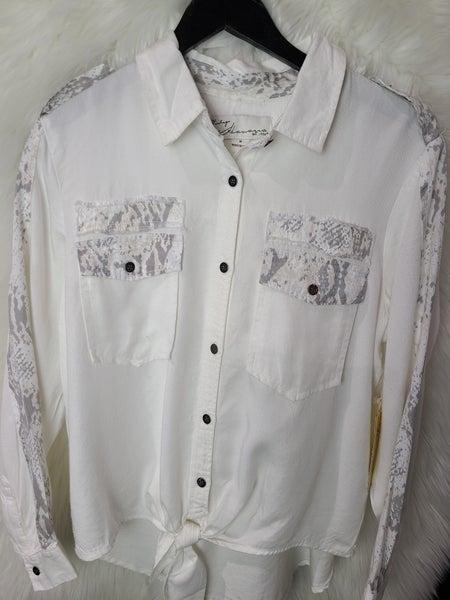 Vintage Havana White Tencel Snakeskin Shirt