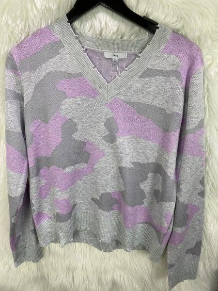 Lavender Camo V Neck Sweater