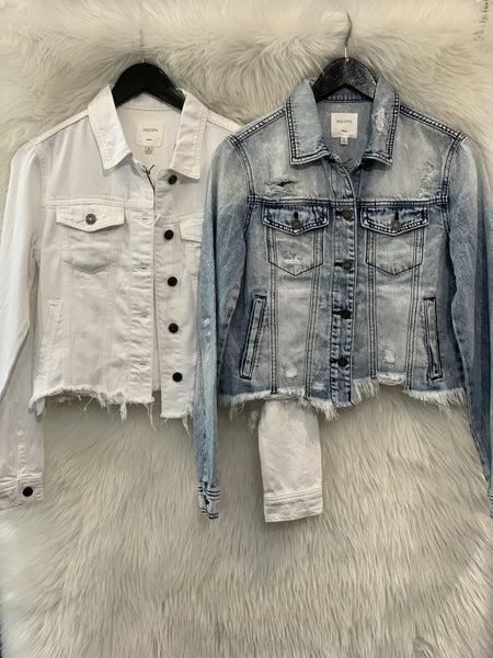 White Hidden Denim Jacket