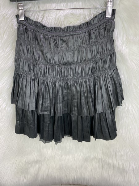 Pleated Charcoal Mini Skirt