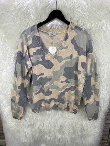 Fate Camo Blue V Neck Sweater