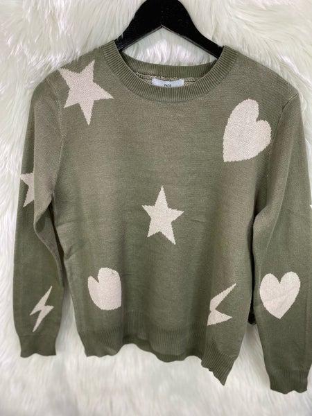 Olive Heart, Star, Lightening Bolt Sweater