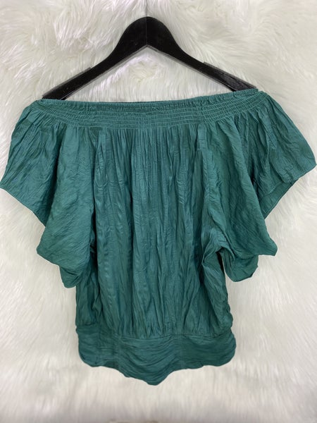 Current Air Emerald Green Butterfly Sleeve Blouse