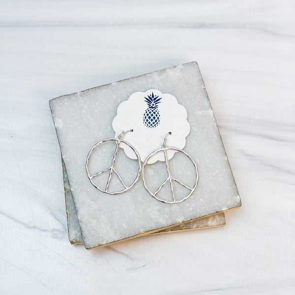 Prep Obsessed Peace Sign Earrings - Silver