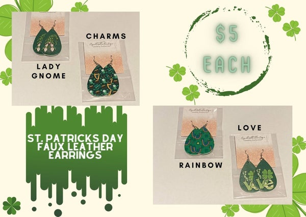 St. Patrick's Day Faux Leather Earrings 2