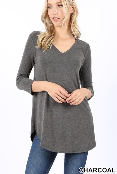 3/4 Sleeve V Neck Tunics - New Colors
