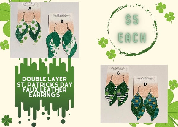 Layered St. Patrick's Day Faux Leather Earrings