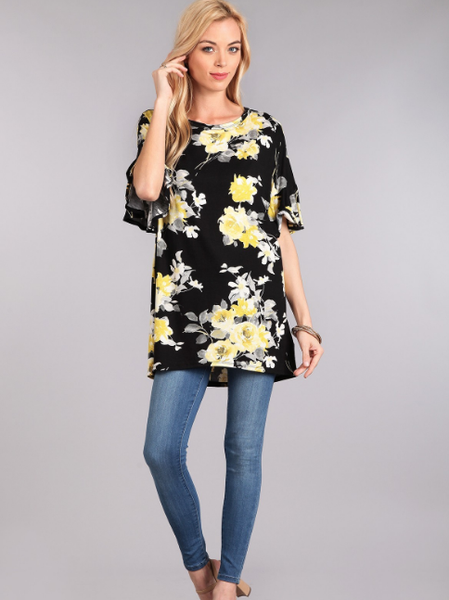 Yellow Floral Ruffle Sleeve Top