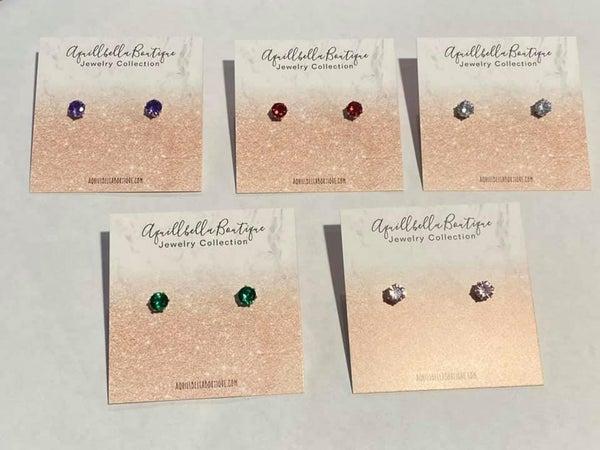 Kids Solid Gemstone Post Earrings