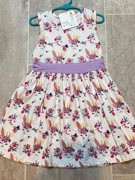 Kids Sleeveless Floral Bunny Dress