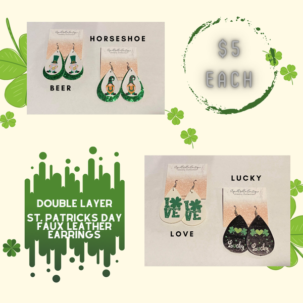 St. Patrick's Day Faux Leather Earrings 5