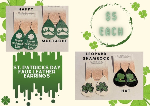 St. Patrick's Day Faux Leather Earrings 4