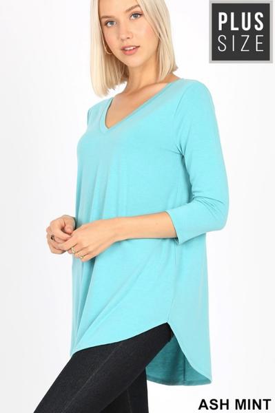 Plus Size 3/4 Sleeve V Neck Tunics
