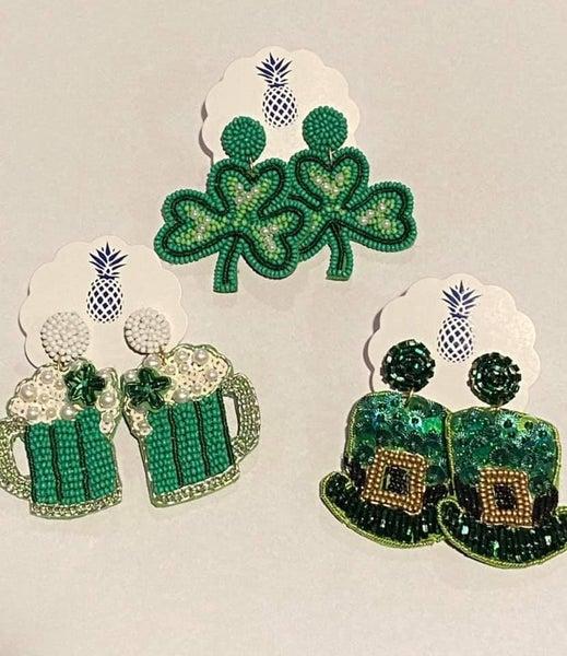 Beaded St. Patrick's Day Earrings