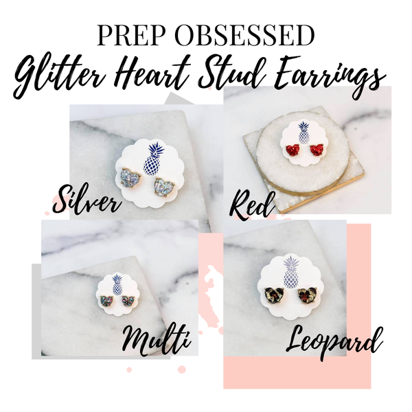 Prep Obsessed Glitter Heart Stud Earrings