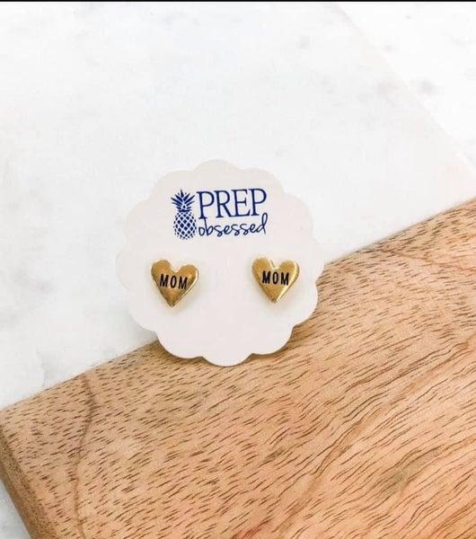 Prep Obsessed Gold Mom Stud Earrings