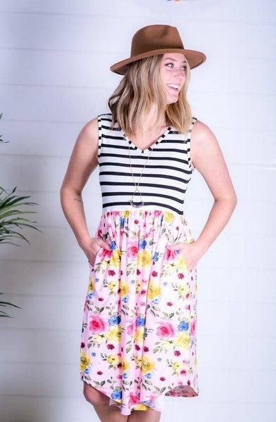 Blush and Ivory Stripe Midi Dress