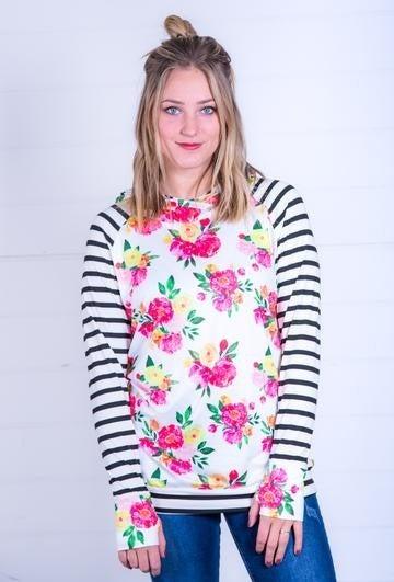 Floral & Stripe Long Sleeve Hooded Top