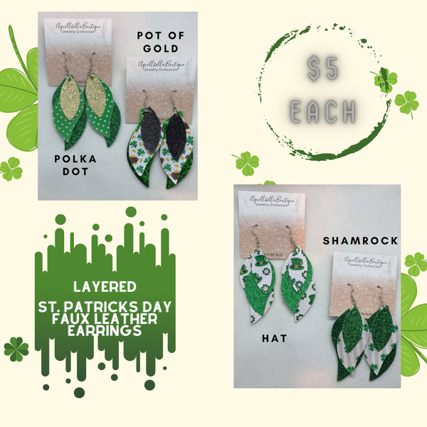 Layered St. Patrick's Day Faux Leather Earrings 2