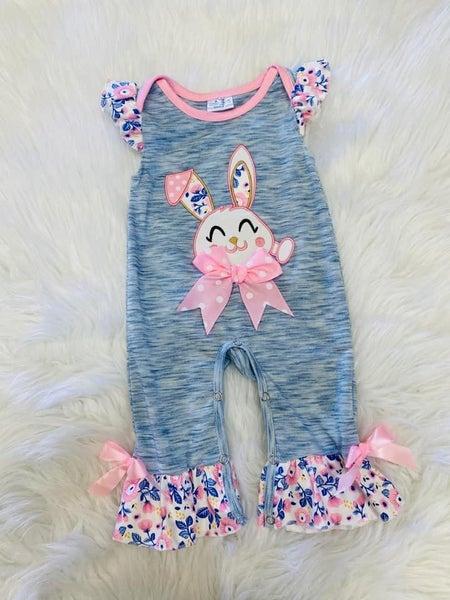 Floral Bunny Infant Romper