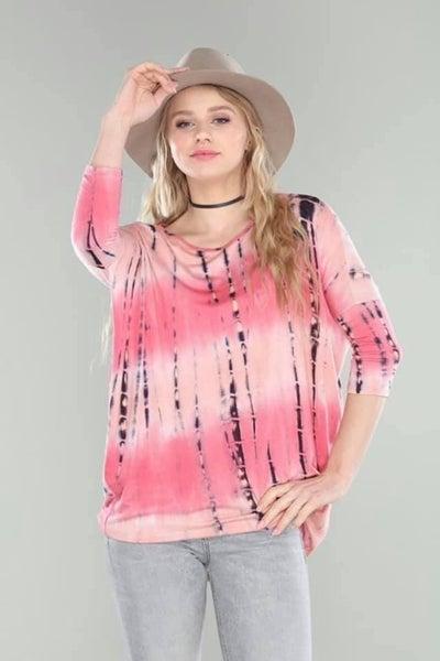 Coral Tie Dye Top