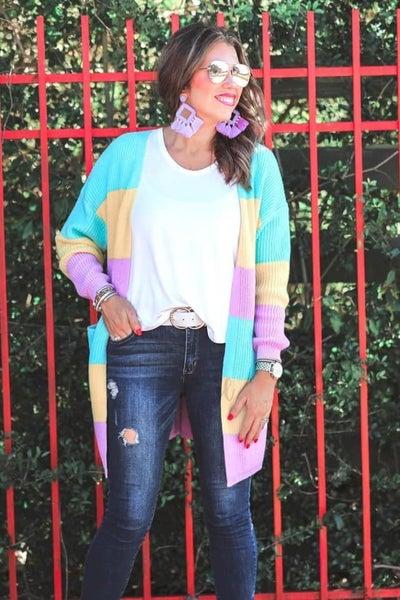 Multi Color Pastel Front Pocket Cardigan