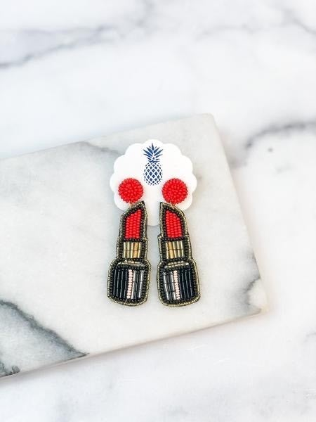 Prep Obsessed Beaded Lipstick Earrings