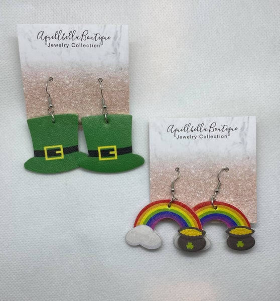 St. Patrick's Day Faux Leather Earring Shapes
