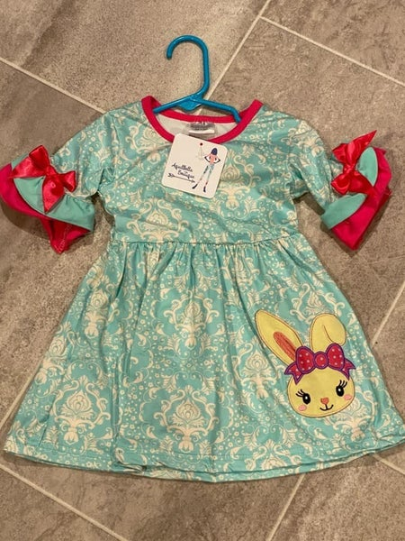 Kids Mint Paisley Bunny Dress