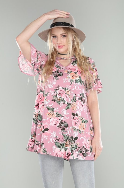 Pink Floral Ruffle Sleeve Top