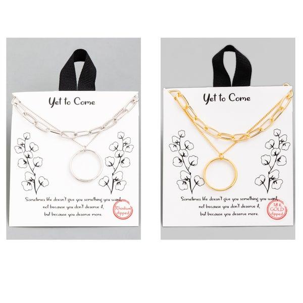 Circle  Chain Pendant Necklace