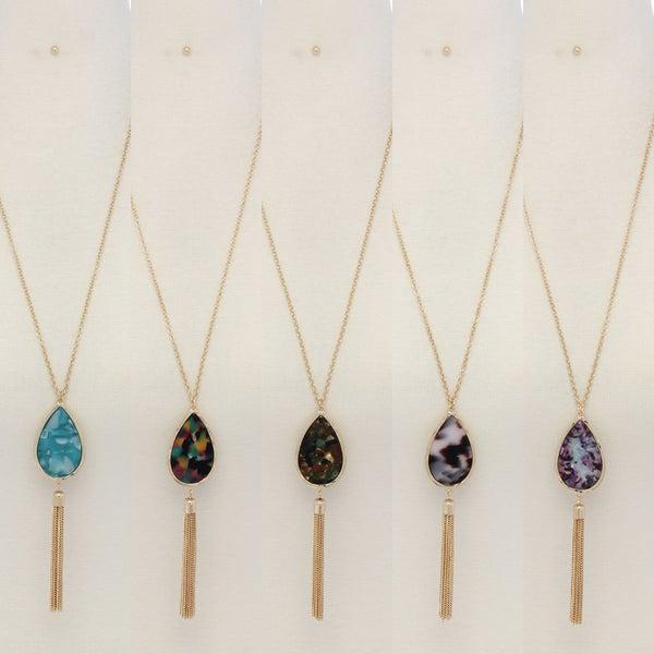 Tear Drop Linked Chain Pendant Necklace (5 COLORS)