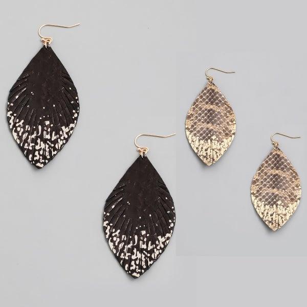 Genuine Leather Drop Earrings