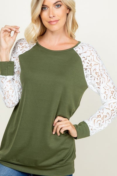 Olive you Lace Top