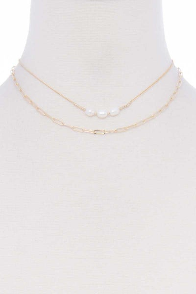 2 LAYERED CHAIN PEARL PENDANT NECKLACE