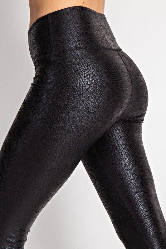 Leather Snake Leggings