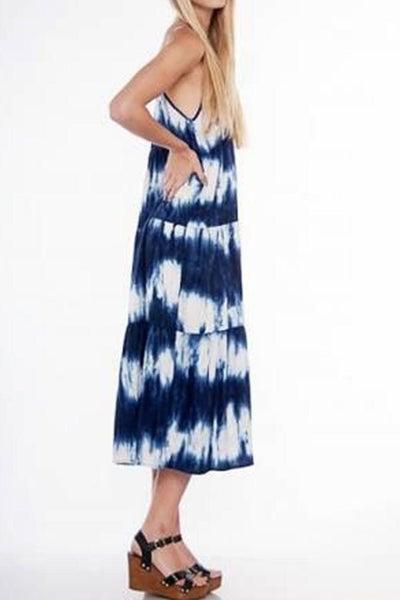 Long Layered Tie-Dye Dress