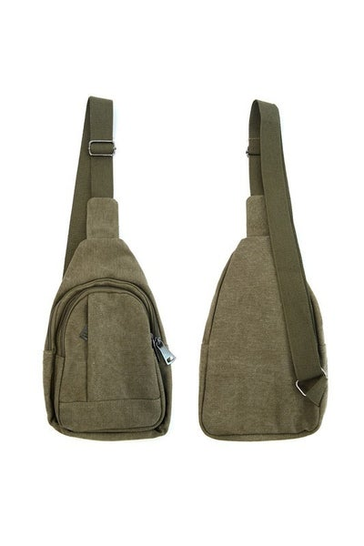 Olive Cross Body Leather Sling Bag Backpack