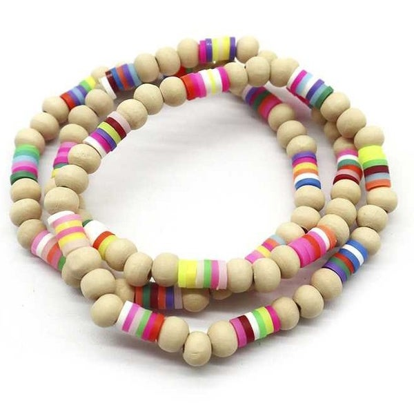 Rubber Wooden Stretch Bead Bracelet
