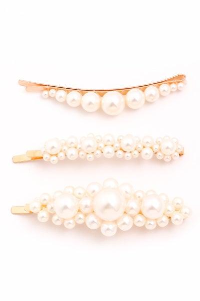 3 Piece Pearl Hair Pin Set