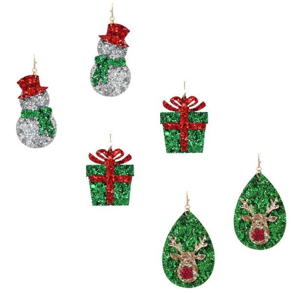 Glitter Holiday Earrings
