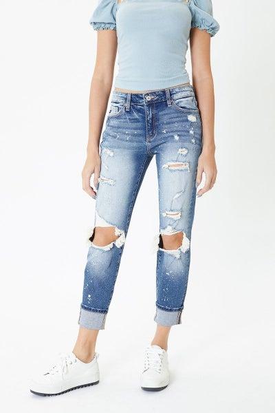 Kancan Distressed High Rise Folded Hem Skinny Jean
